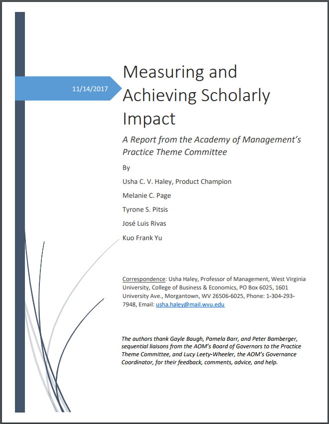 Scholarly Impact Report Cover